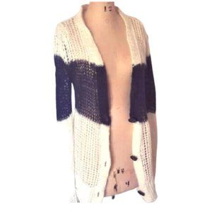 Isabel Marant white black stripe long cardigan